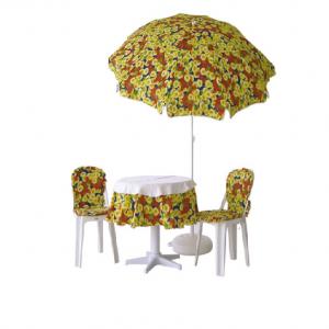 Bahçe için şemsiyeli plastik masa sandalye