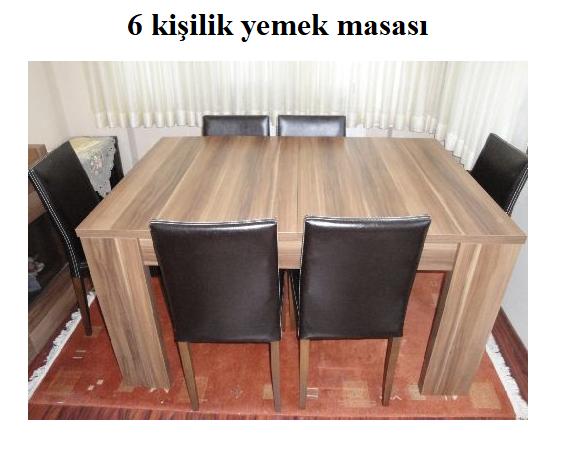 Satılık 6 kişilik yemek masası sandalyeler